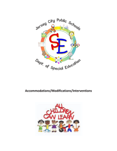 Accommodations/Modifications/Interventions