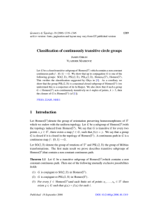 Classification of continuously transitive circle groups 1