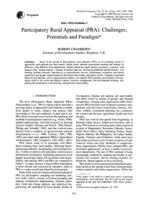 Participatory Rural Appraisal (PRA): Challenges