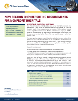 New Section 501(r) Reporting Requirements for