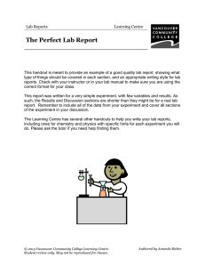 Perfect Lab Report - VCC Library