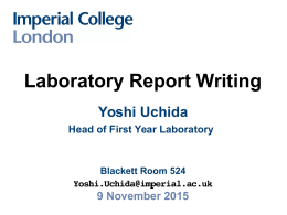 imperial college lab reports World scientific - a leading international publisher in science, technology and medicine.