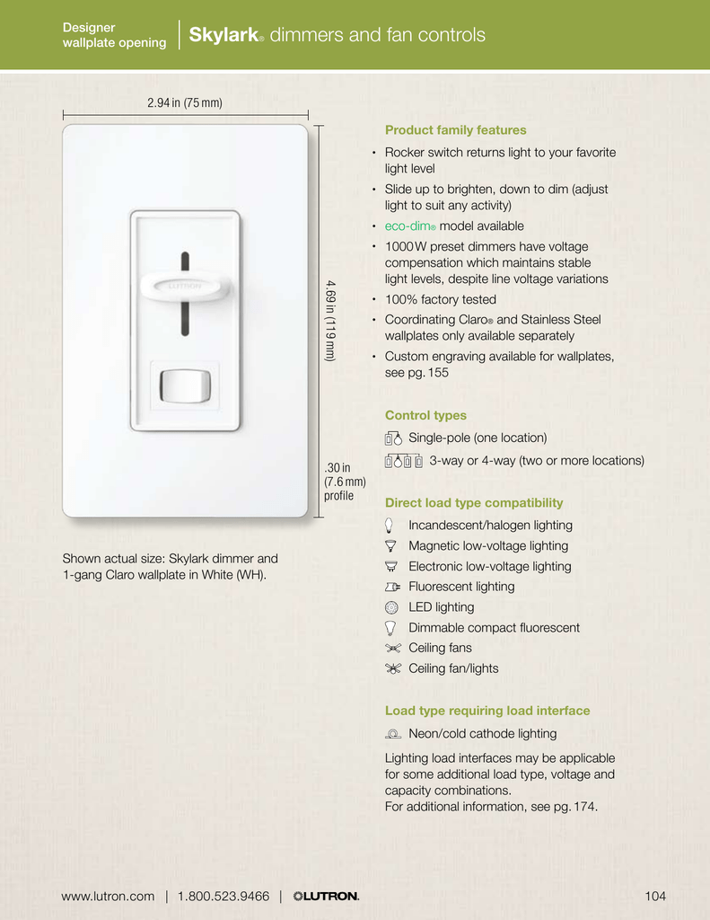 Skylark Dimmers And Fan Controls 3 Way Dimmer Switch