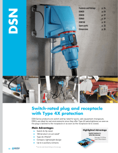 Switch-rated plug and receptacle with Type 4X protection