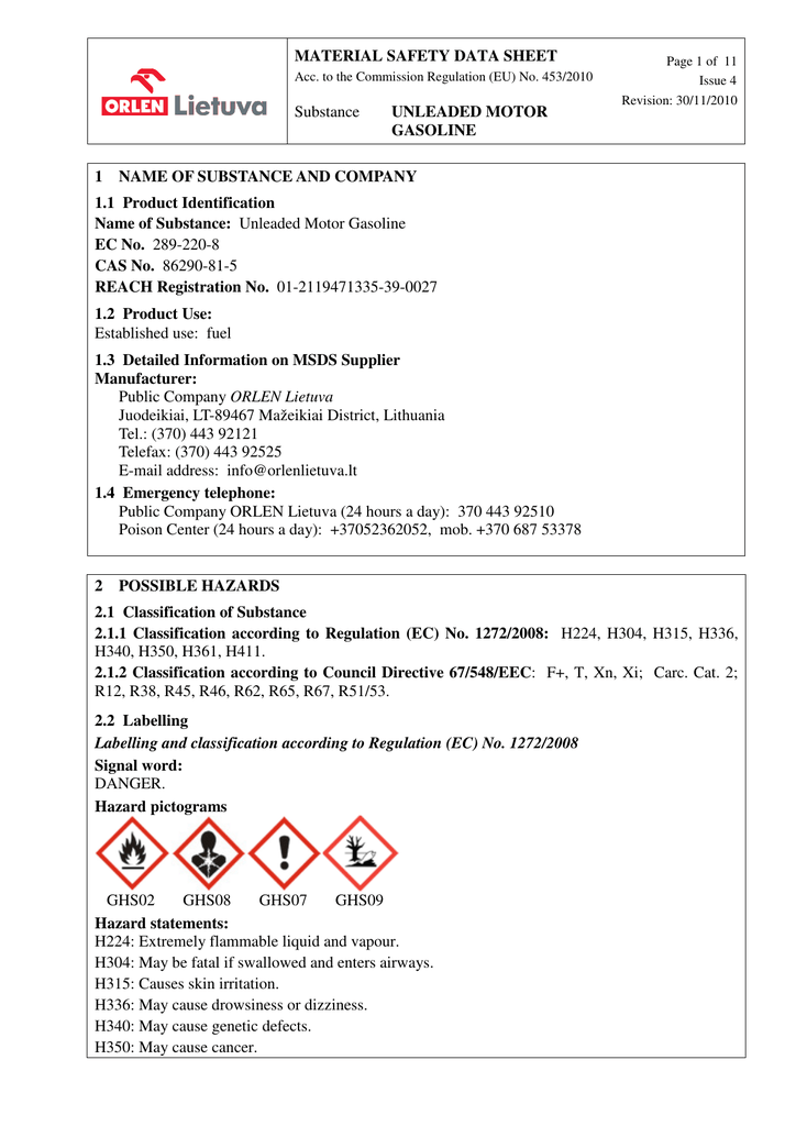 Material Safety Data Sheet Substance Unleaded Motor