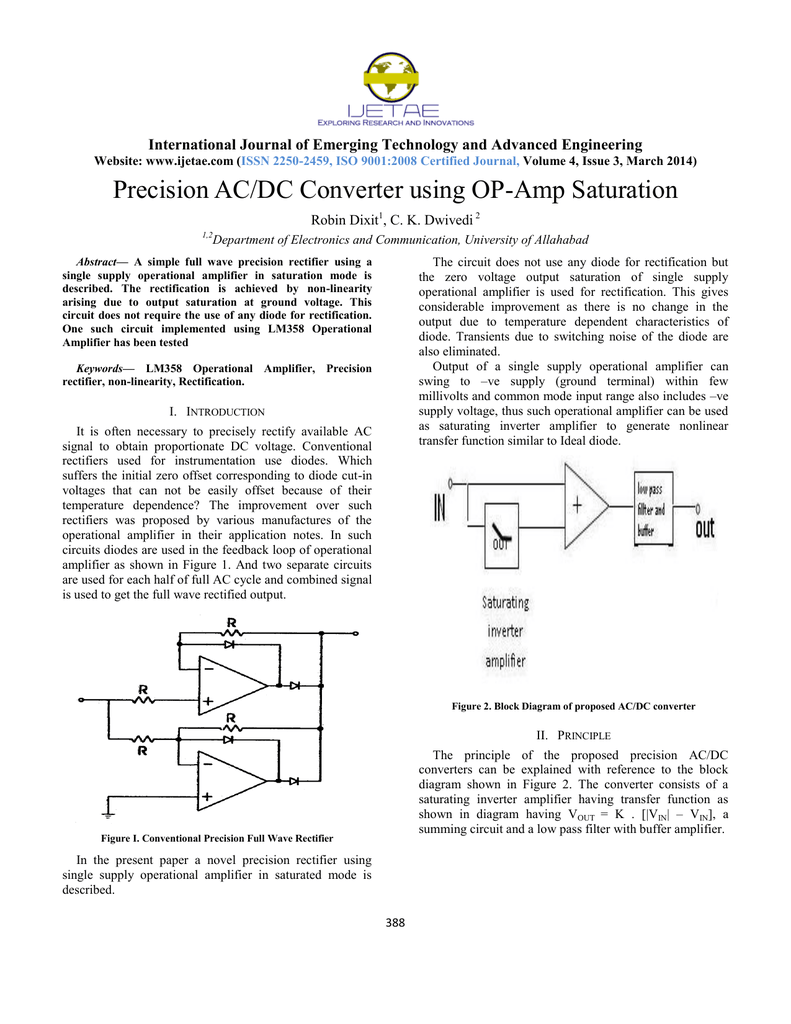 Precision Ac Dc Converter Using Op Amp Saturation Diode Rectifier Wiring Diagram For