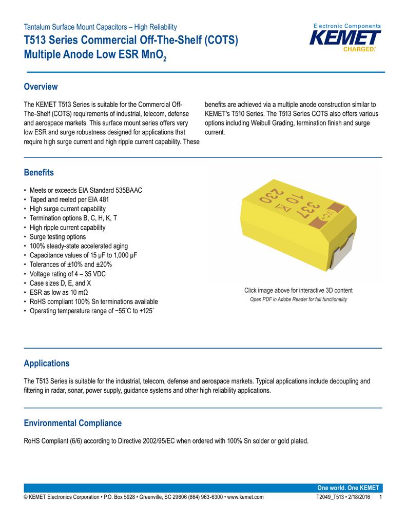 T513 Series Tantalum Multiple Anode Capacitor