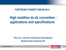 High Isolation DC-DC converters – applications and specifications
