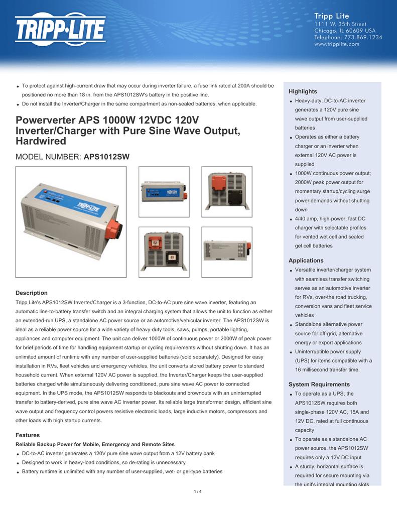 Powerverter Aps 1000w 12vdc 120v Inverter Charger With Pure 12v To