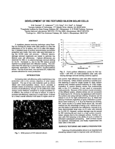 Development of RIE-textured Silicon Solar Cells p. 371