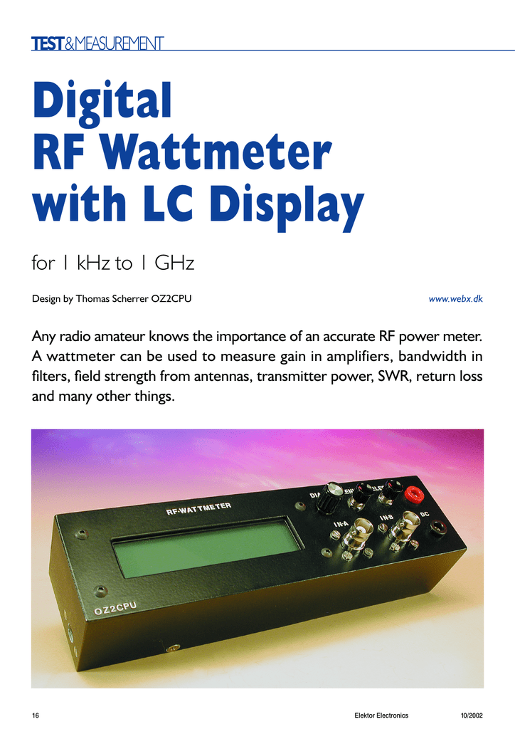 Digital RF Wattmeter with LC Display