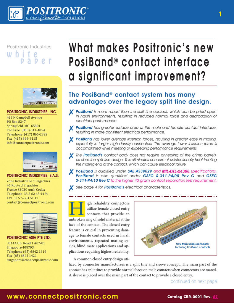 what makes positronic`s new posiband® contact interface a