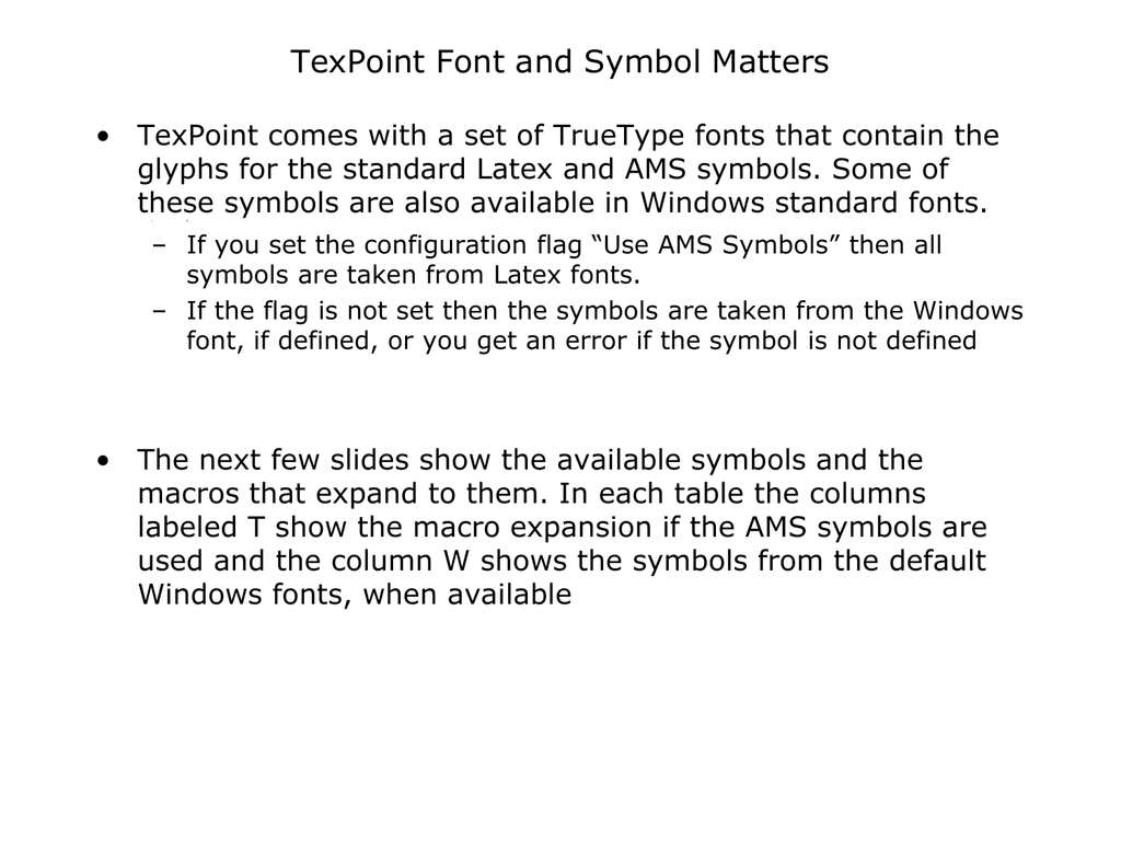 Texpoint Font And Symbol Matters