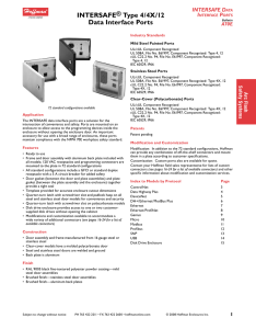 INTERSAFE® Type 4/4X/12 Data Interface Ports