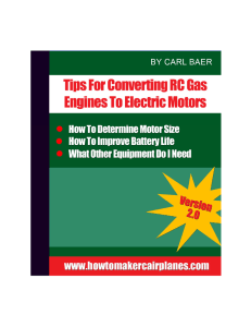 Tips For Converting RC Gas Engines To Electric Motors. By Carl Baer