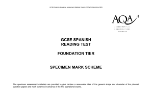 AQA Spanish Foundation Reading Mark Scheme