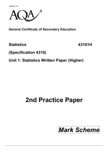 Higher Practice Paper 2 Mark Scheme