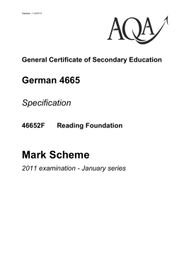GCSE German Mark Scheme Unit 02 - Reading