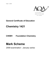 GCE Chemistry Unit 1 - Foundation Chemistry Mark Scheme