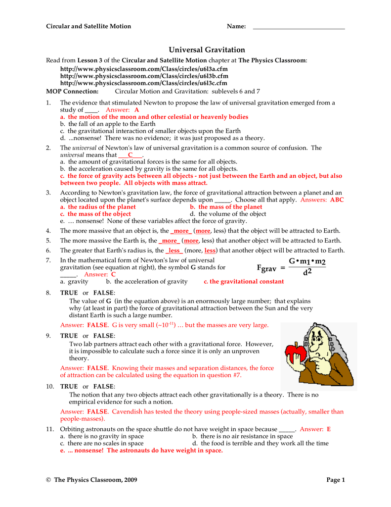 worksheet Law Of Universal Gravitation Worksheet Key universal gravitation fgrav d2