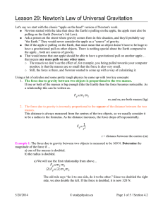 Lesson 29: Newton`s Law of Universal Gravitation