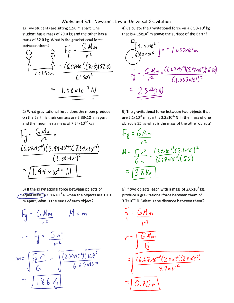 Worksheets Law Of Universal Gravitation Worksheet worksheet 1 law of universal gravitation1 jnt