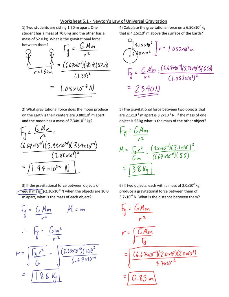 Worksheet - 1 - Law of Universal Gravitation1.jnt