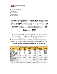OKP Holdings Limited posts 52% higher net profit of S$14.4 million