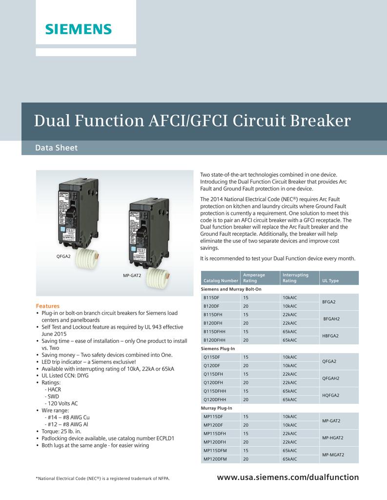 Dual Function Afci  Gfci Circuit Breaker