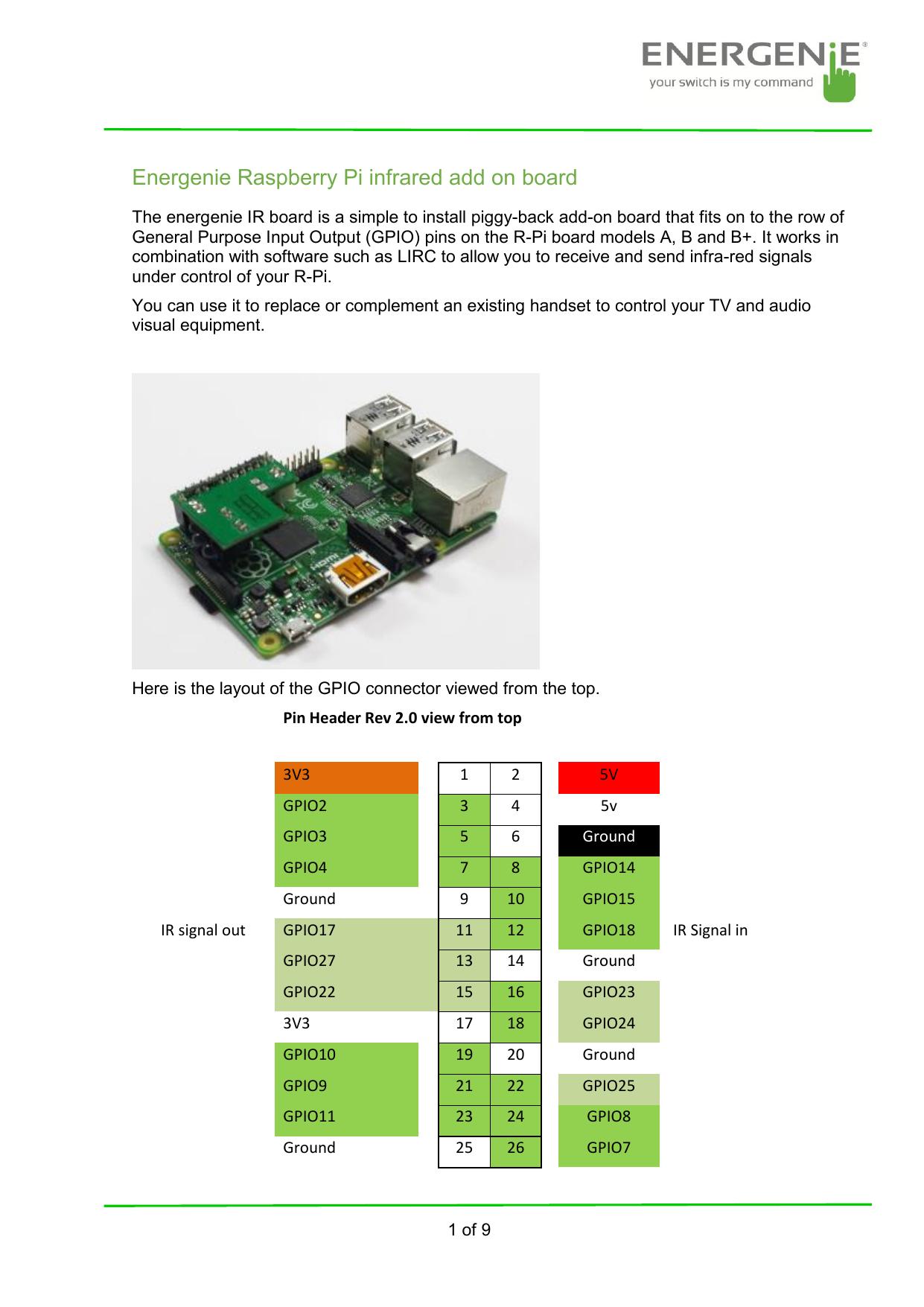 Energenie Raspberry Pi infrared add on board