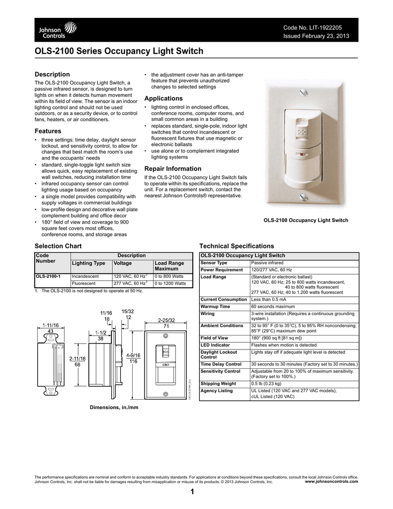 OLS-2100 Series Occupancy Light Switch