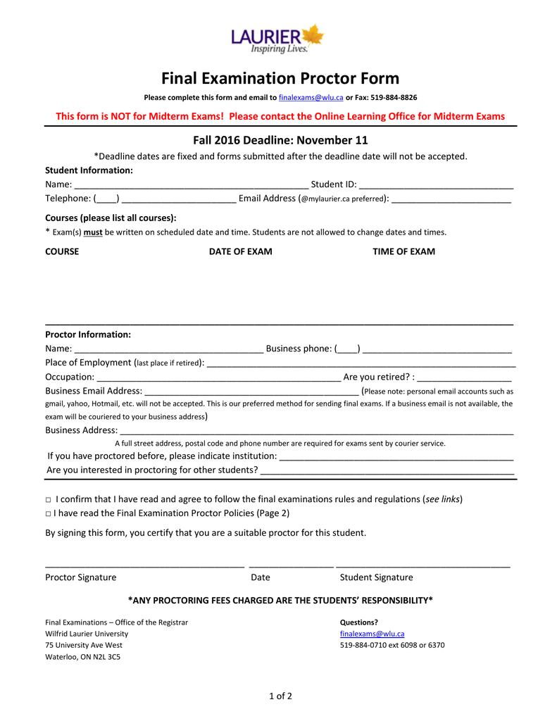 Final Examination Proctor Form