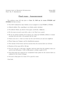 Final exam - Announcement