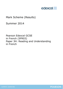 Mark Scheme (Results) Summer 2014