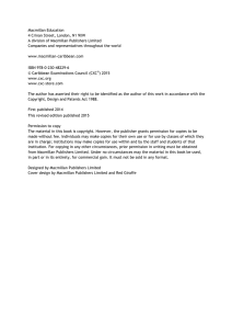 CSEC® Geography Syllabus, Specimen Paper, Mark Scheme and