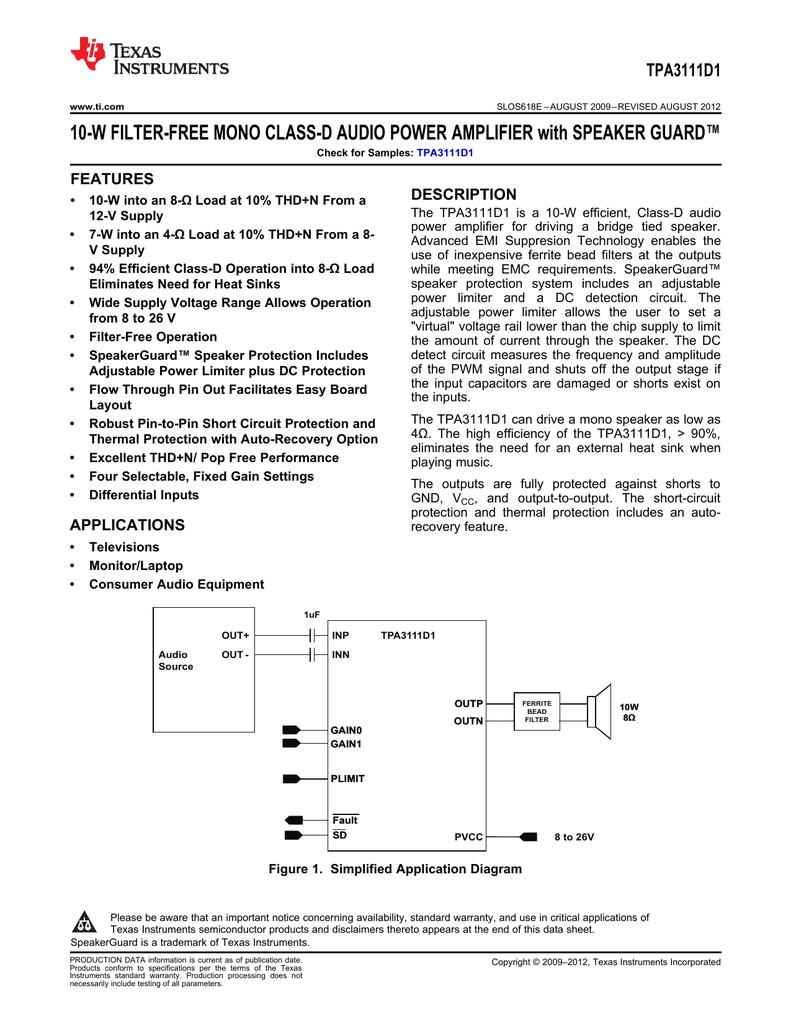 Tpa3111d1 10 W Mono Class D Audio Power Wiring Diagram Single Chip 25 Watt Classd Amplifier