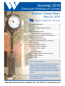 Summer 2016 - Wayne Community College