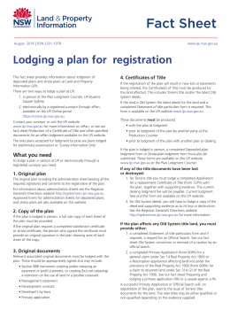 Lodging a plan for registration
