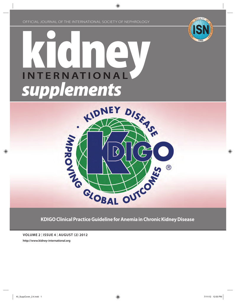 KDIGO clinical practice guideline for anemia in chronic kidney