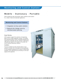 Monitoring and Control Stations Mobile · Stationary · Portable