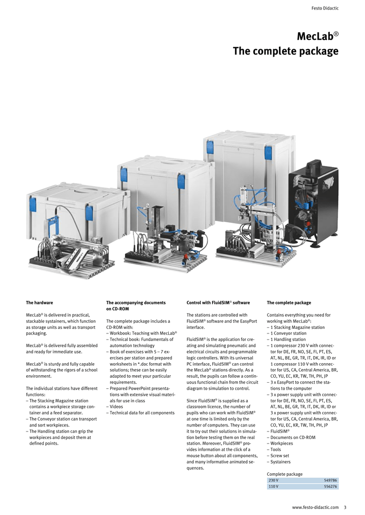 festo didactic meclab� the complete package the hardware meclab� is  delivered in practical, stackable systainers, which function as storage  units as well as