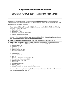 Anglophone South School District SUMMER SCHOOL 2014 – Saint