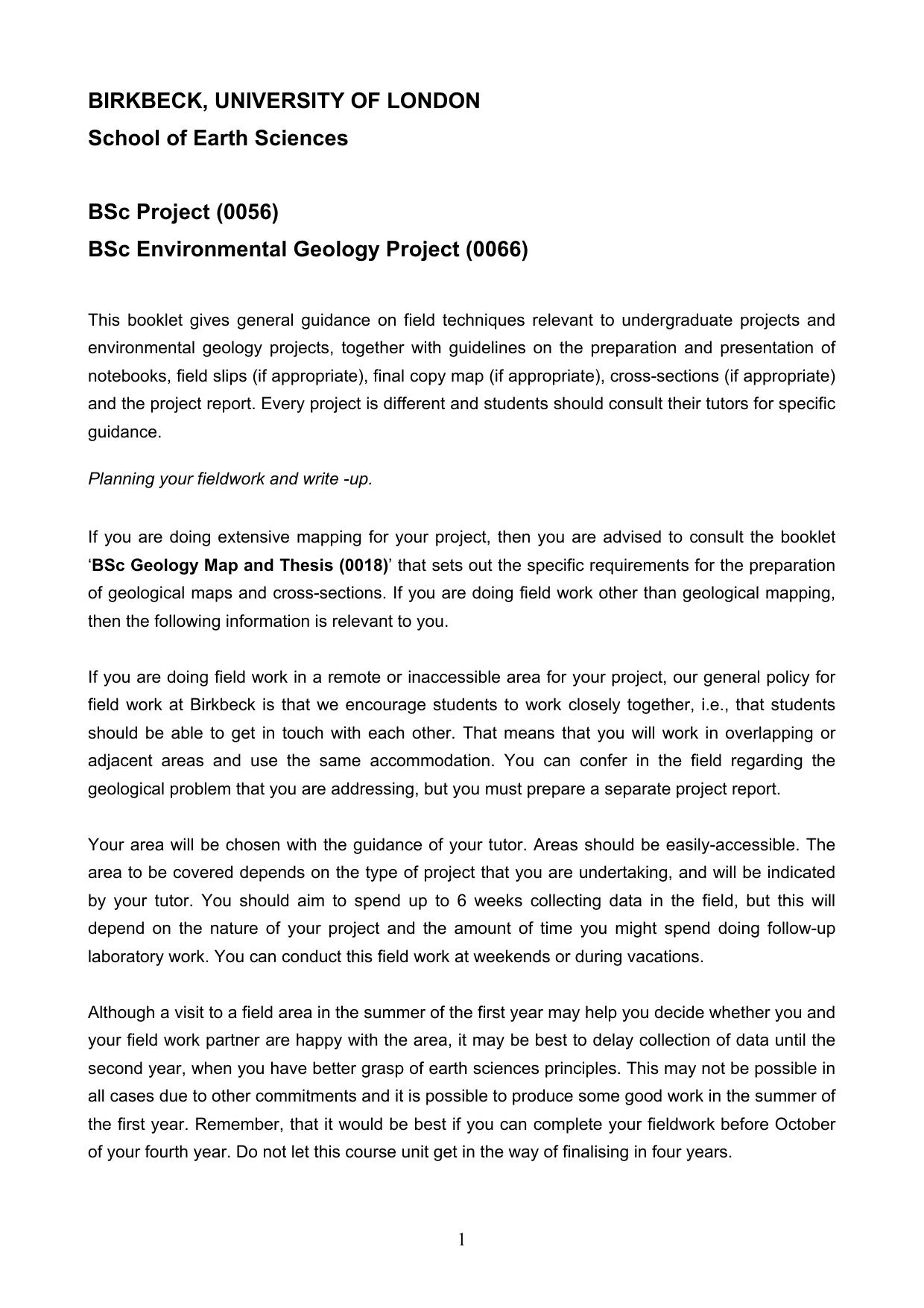 bsc project guidelines birkbeck university of london
