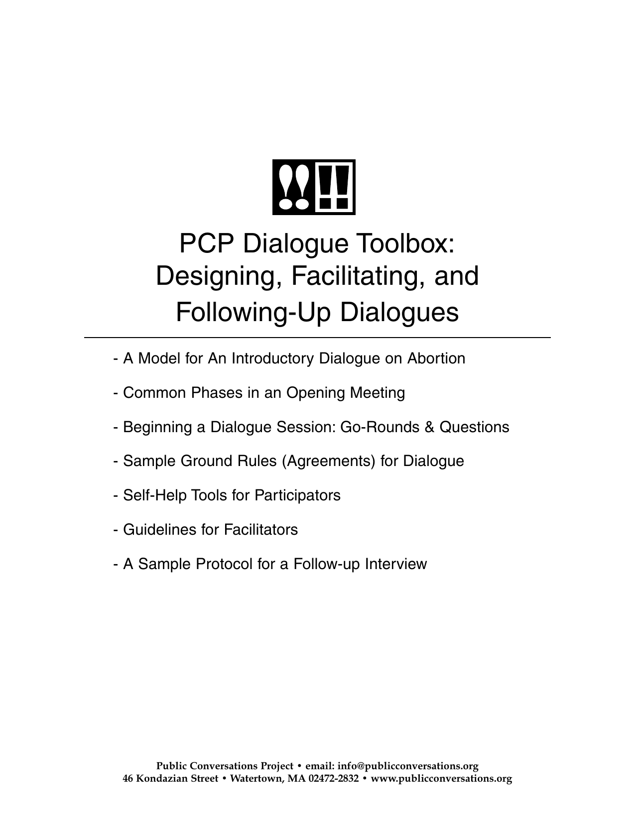 PCP Dialogue Toolbox: Designing, Facilitating, and Following