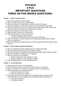 PHYSICS II PUC IMPORTANT QUESTIONS THREE OR FIVE