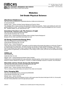 Physical Sciences Websites - Community Resources for Science
