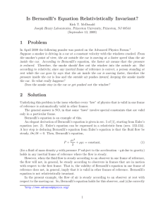 Is Bernoulli`s Equation Relativistically Invariant? 1 Problem