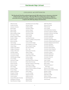 college acceptances - The Hartsbrook School