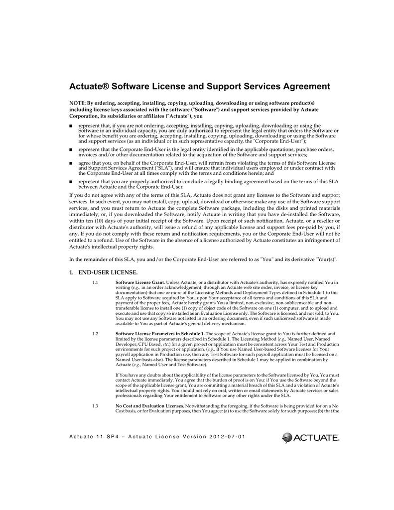 Actuate Software License And Support Services Agreement