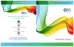 ORS 2016 Program Book - Orthopaedic Research Society